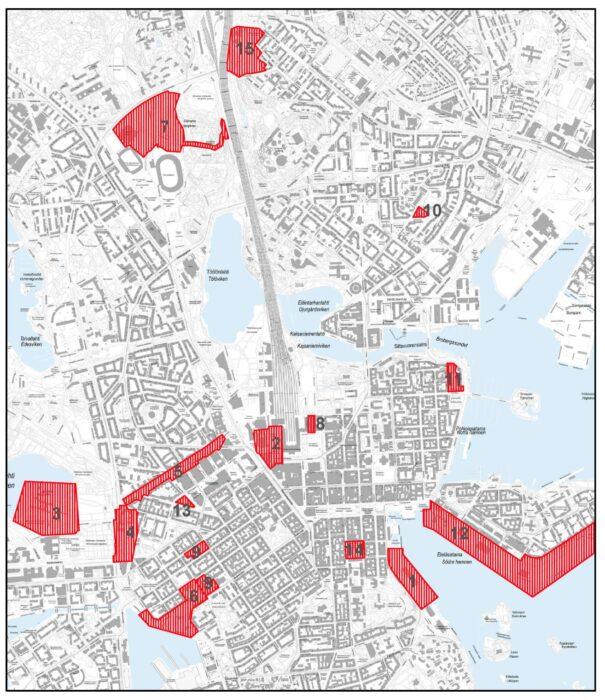 Kartta Helsingin uhanalaisista kulttuuriympäristöistä